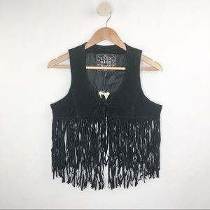 ❌SOLD❌Last Kiss NWT Black Leather Suede Fringe Boh